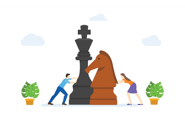 Men and women play big chess pieces concept strategy business modern flat cartoon style.