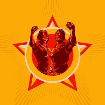 Men and women revolution emblem propaganda