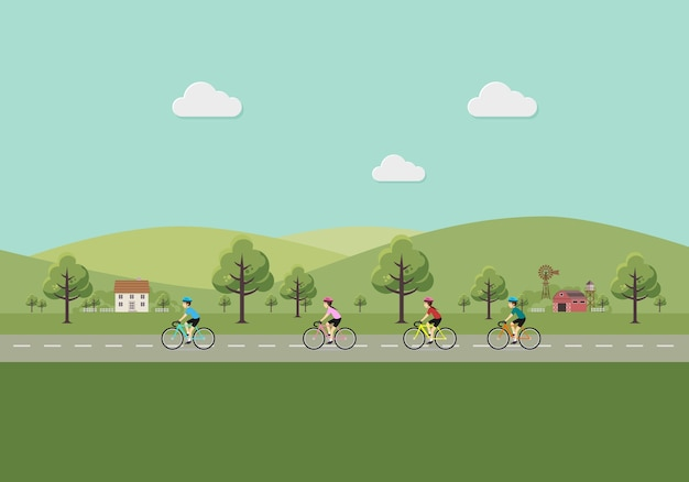 Men and women riding bicycles in the countryside.