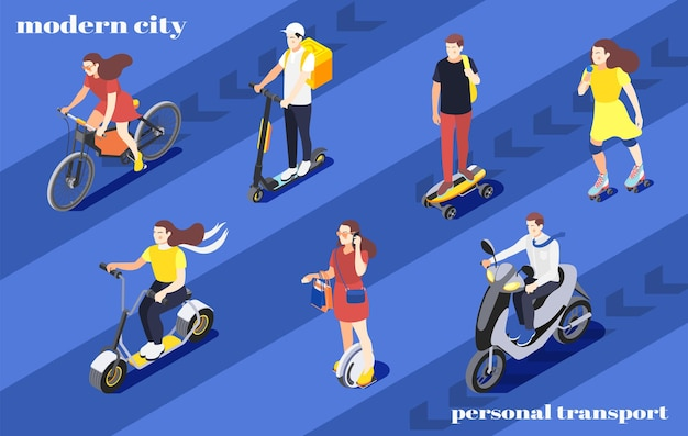 Men and women riding bike unicycle scooter roller skates skateboard around city isometric