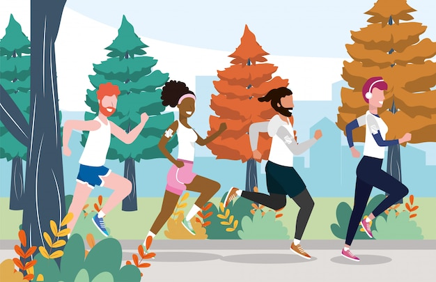 Men and women running training exercise activity