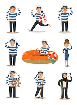 Men and women sailors in traditional striped uniform   illustration