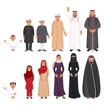Men and women traditional arabic clothes for all ages. cartoon characters in red chador, purple jilbab, black abaya and checkered arafat vector illustration.