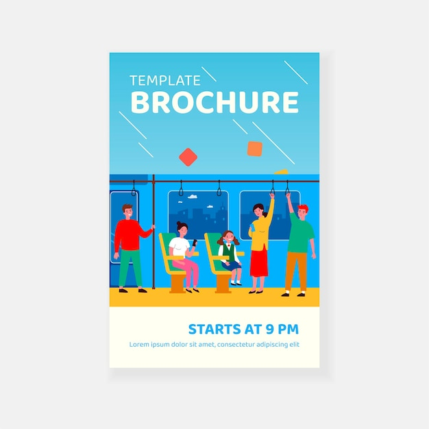 Men and women traveling by bus or subway isolated flat vector illustration brochure template