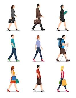 Men and women walking Premium Vector