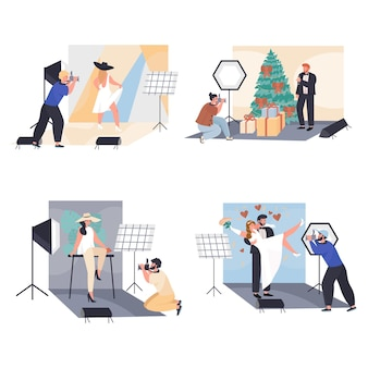 Men and women work as photographers concept scenes set vector illustration of characters