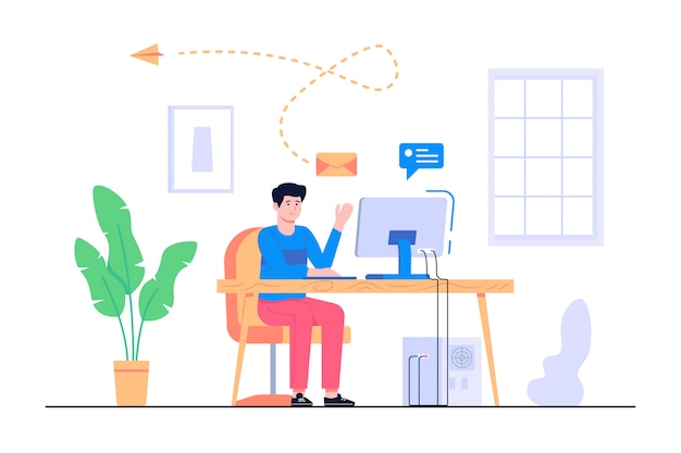 Men work from home concept illustration