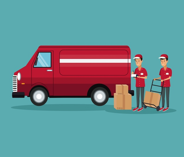 Men worker with truck and packages fast delivery