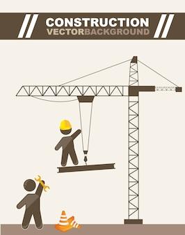 Men working in construction cartoons vector illustration