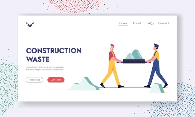 Men working on construction site remove waste landing page template. builders in uniform carry ruined debris on stretcher. workers male characters demolish building. cartoon people vector illustration