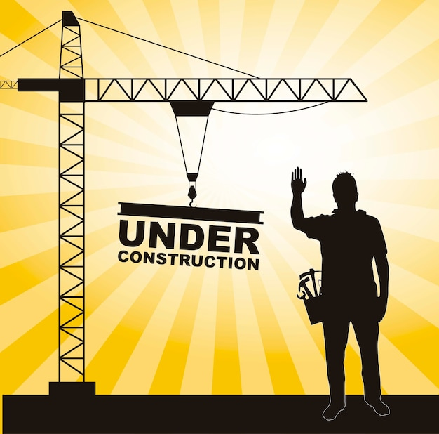 Men working in construction with crane tower vector illustration