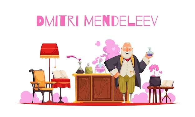 Mendeleev composition with editable text and view of vintage room furniture with test tubes and jars