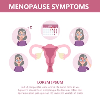 Menopause symptoms infographic. hormone and reproductive system