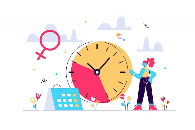 Menopause woman standing at her biological clock measuring age and calendar. menopause, women climacteric, hormone replacement therapy concept. bright vibrant violet isolated illustration