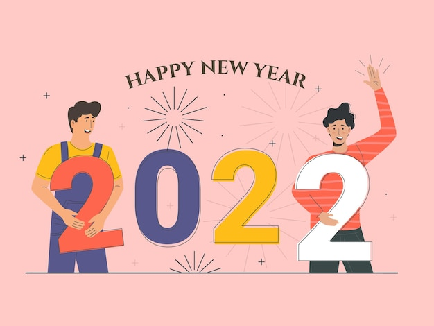 Mens character celebrate christmas or new year happy new year 2022