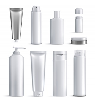 Mens cosmetics bottles realistic icon set different shapes and sizes for beauty  illustration