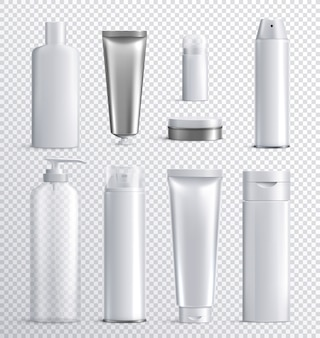 Mens cosmetics bottles transparent realistic icon set with transparent background for liquid spray shampoo or skincare  illustration