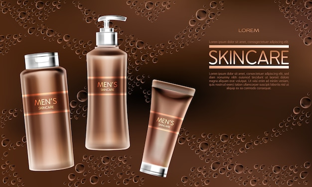 Mens cosmetics product realistic vector ad banner