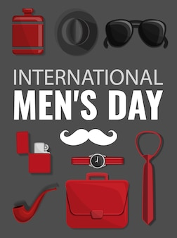 Mens day concept background, cartoon style