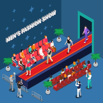 Mens fashion show isometric illustration