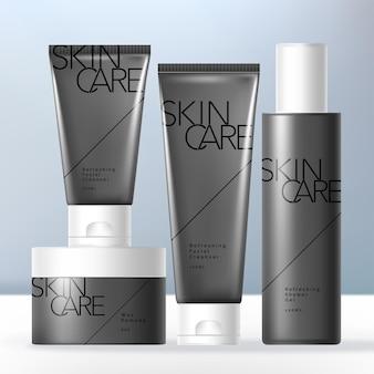 Mens grooming or toiletries packaging bundle with opaque black jar bottle and tube