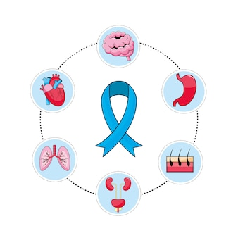 Mens health ribbon with prevention diagnosis