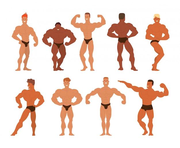Mens physics bodybuilders  illustration.