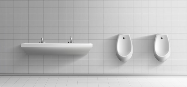 Interiore minimalista della stanza della toilette pubblica degli uomini