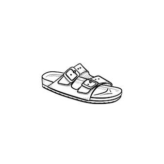 メンズサンダル手描きアウトライン落書きアイコン。夏、休暇、休日、ファッション、スリッパ、快適なコンセプト