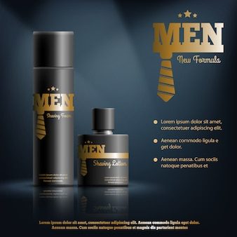 Mens shaving cosmetics realistic composition