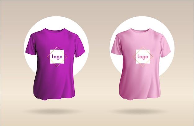 メンズショートラウンドネックtシャツあなたのロゴを含むバイオレットとピンクのtシャツのフロントmokup