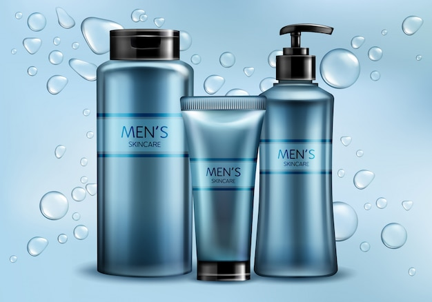 Mens skincare cosmetics line 3d realistic vector advertising mockup.