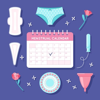 Concetto di calendario mestruale illustrato