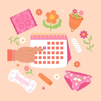 Menstrual calendar concept with girly elements
