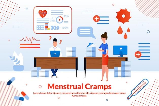 Menstrual cramps flat  banner template