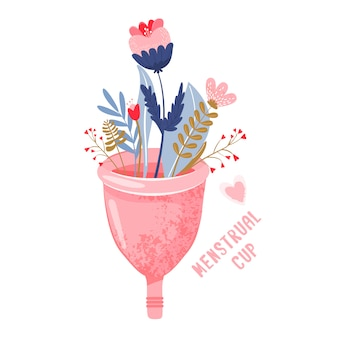 Menstrual cup with flowers. eco protection