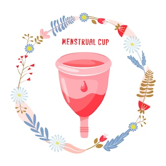 Menstrual cup with flowers and leaves.