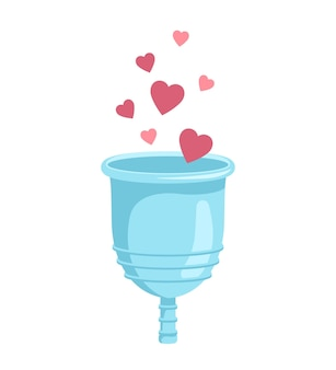 Menstrual cup with hearts, vector illustration