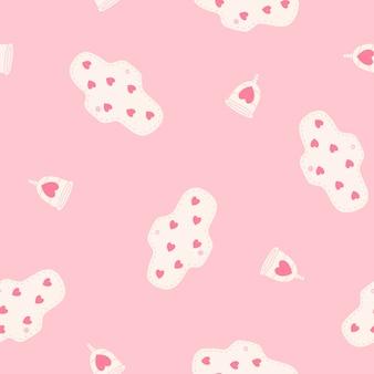 생리 컵과 패드 원활한 패턴