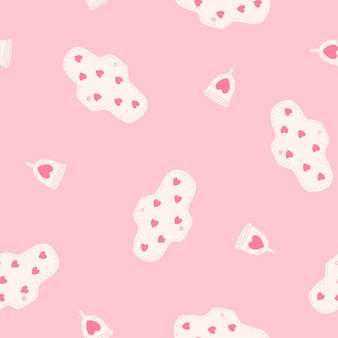 Menstrual cups and pads seamless pattern