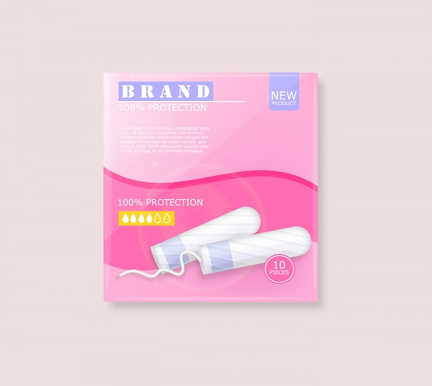 Рекламный пакет гигиенических тампонов менструального цикла с местом для бренда