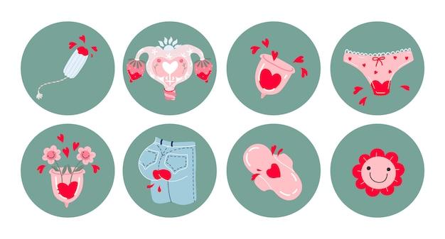 Набор иконок менструального периода. набор рисованной картинки: менструальные чашки, кровоточащие джинсы, тампон, прокладки, трусики, улыбающиеся цветы, сердечки. средства женской гигиены. стикеры предметов.