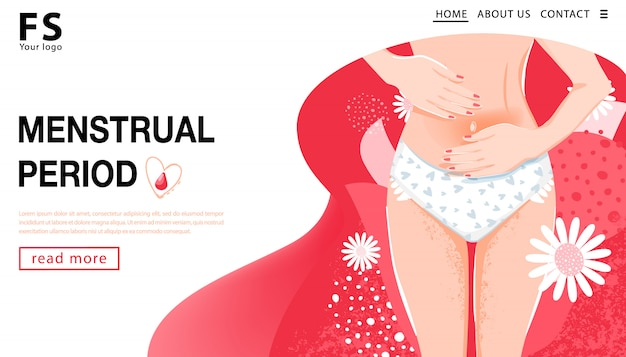 Menstrual period. landing page template. woman having abdominal pain. woman's health concept with woman body, groin of female and flowers. vector illustration.