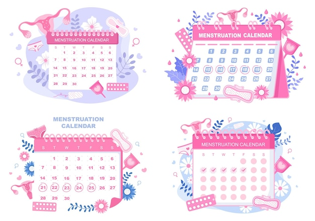 Menstruation period calendar women to check date cycle illustration