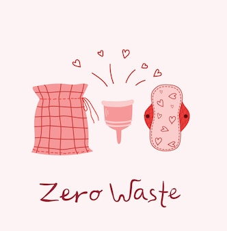 Menstruation theme. period. various feminine hygiene products. zero waste objects in the flat style