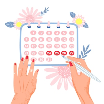 Menstruation. woman marks monthly in the calendar