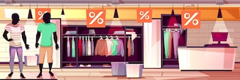 Menswear fashion boutique interior illustration of men clothes sale.