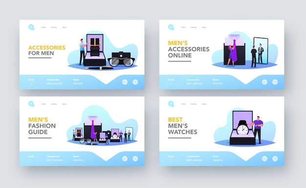 Menswear landing page template set. tiny male characters buying accessories concept. men choose stylish studs, eyeglasses, tie, quill pen and watch in luxury store. cartoon people vector illustration