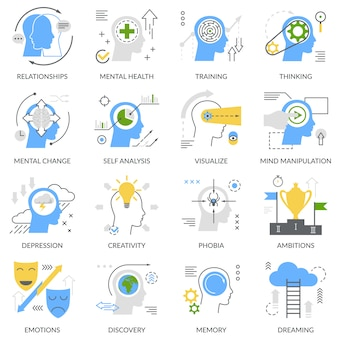 Mental concept flat icon set