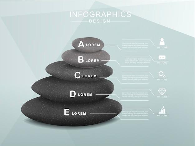 석탑과 정신 개념 infographic 템플릿 디자인